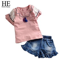 Buy HE Hello Enjoy girls clothes summer Fashion New 2017 girls clothing sets Short-sleeved T-shirt + jeans toddler girl clothing for $19.66 in AliExpress store