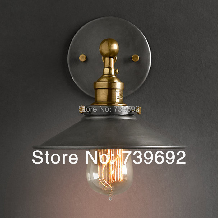 American style bedside antique wall lamp single-head living room lights vintage fashion bar lamps dia.22cm black,white color E27(China (Mainland))