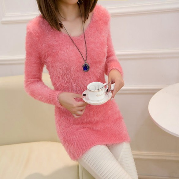 Spring 2015 long Pullover Women Knitted Sweater Women's Long Design O-neck Outerwear Pullover Sweater Dress Drop Shipping 50(China (Mainland))