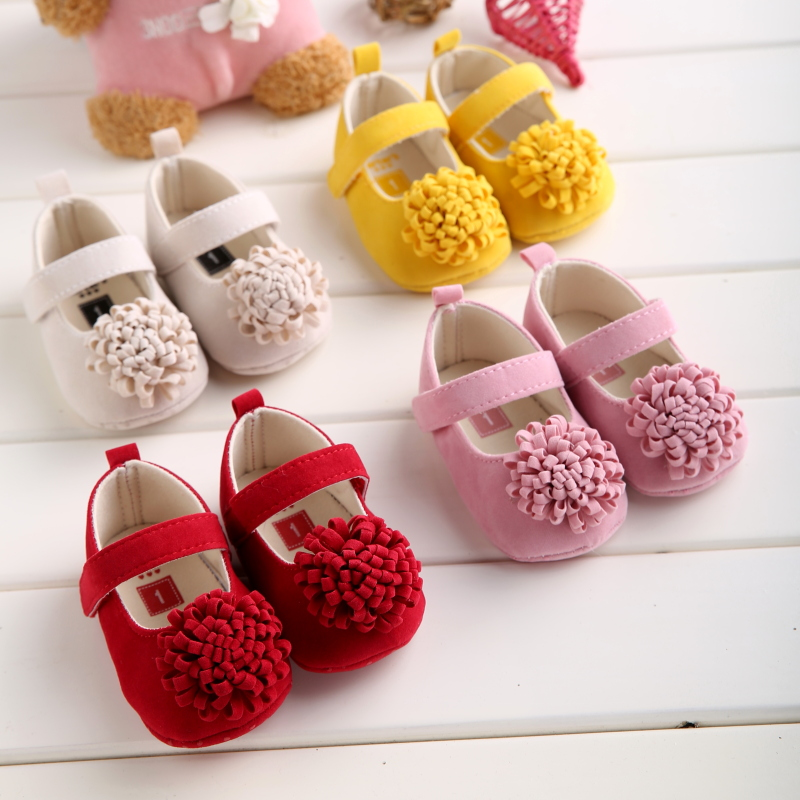 Candy Colors Newborn Baby Prewalker Soft Bottom Anti-slip Shoes Footwear Classic Princess Girl Crib Mary Jane Big Flower Shoes(China (Mainland))