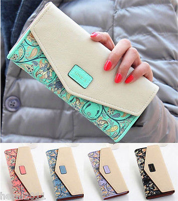 2015 Hot Envelope Women s Leather Purse Wallet Long Card Holder Mobile Zip Free Shipping