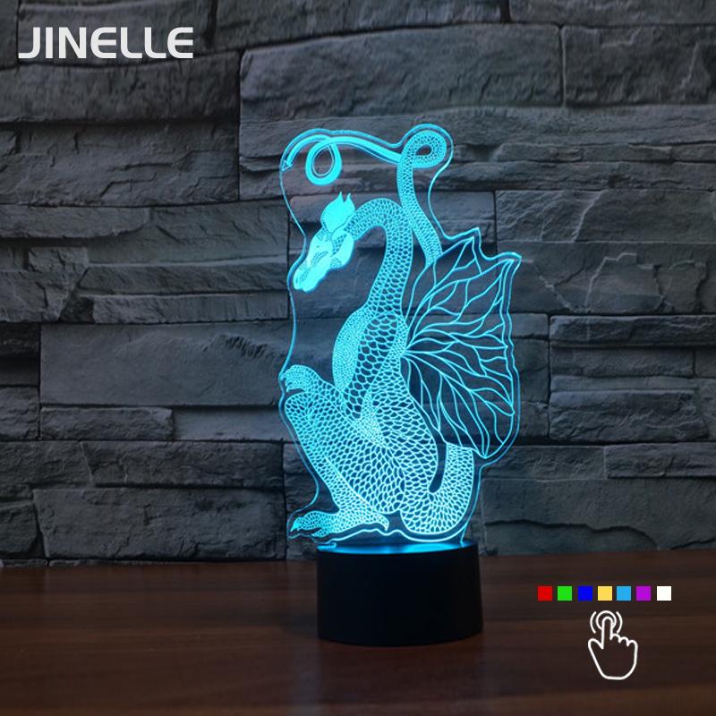 Novelty Chinese Style Paper Cut Dragon Acrylic Illusion Night Light 7 Colors Changing Ancient Dragon Art Decor Lamp(China (Mainland))