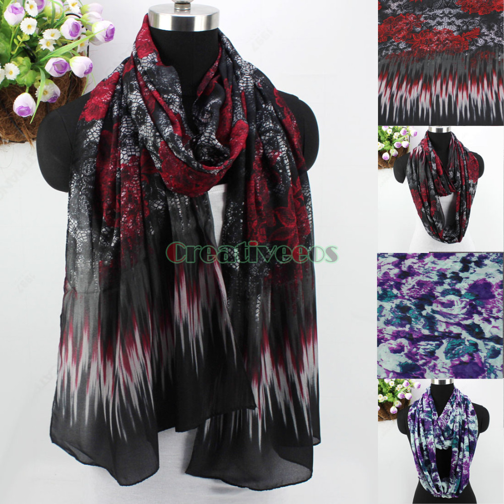 Trend Fashion Elegant Stylish Women's Flower Graffiti Long Scarf/Infinity 2-Loop Cowl Casual Scarf Wrap New Mixed 2 Style(China (Mainland))