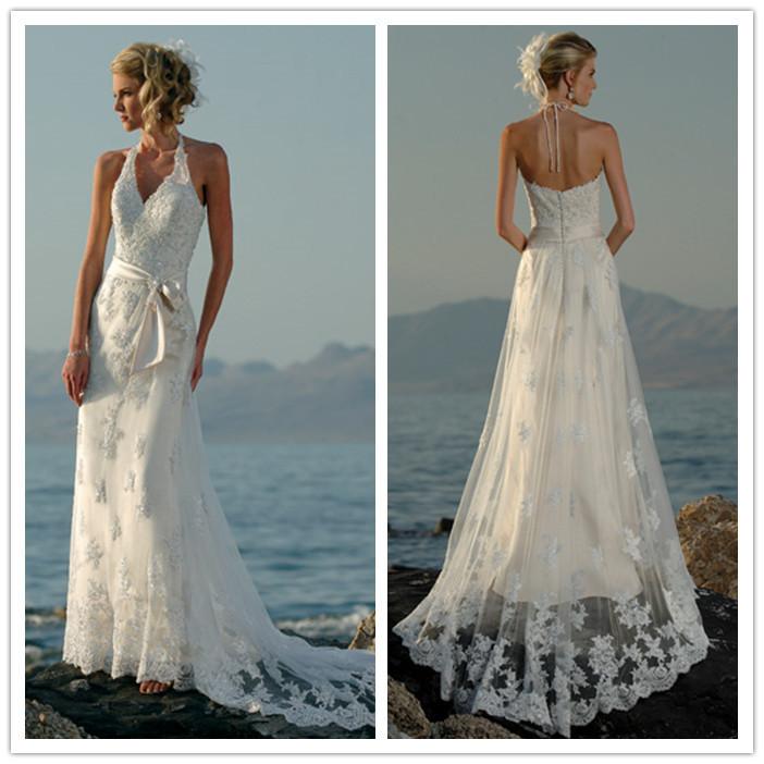 2015 new beading v neck halter court train bows lace white for Halter wedding dresses beach