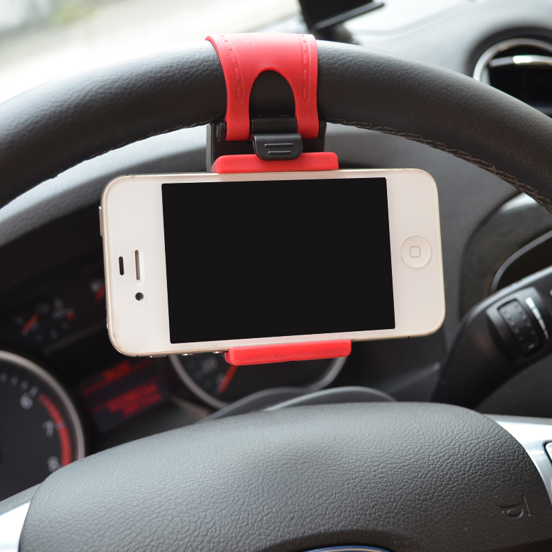Car Steering Wheel Phone Holder Car Mount Bracket Rubber Band For iPhone 6 plus 4 5