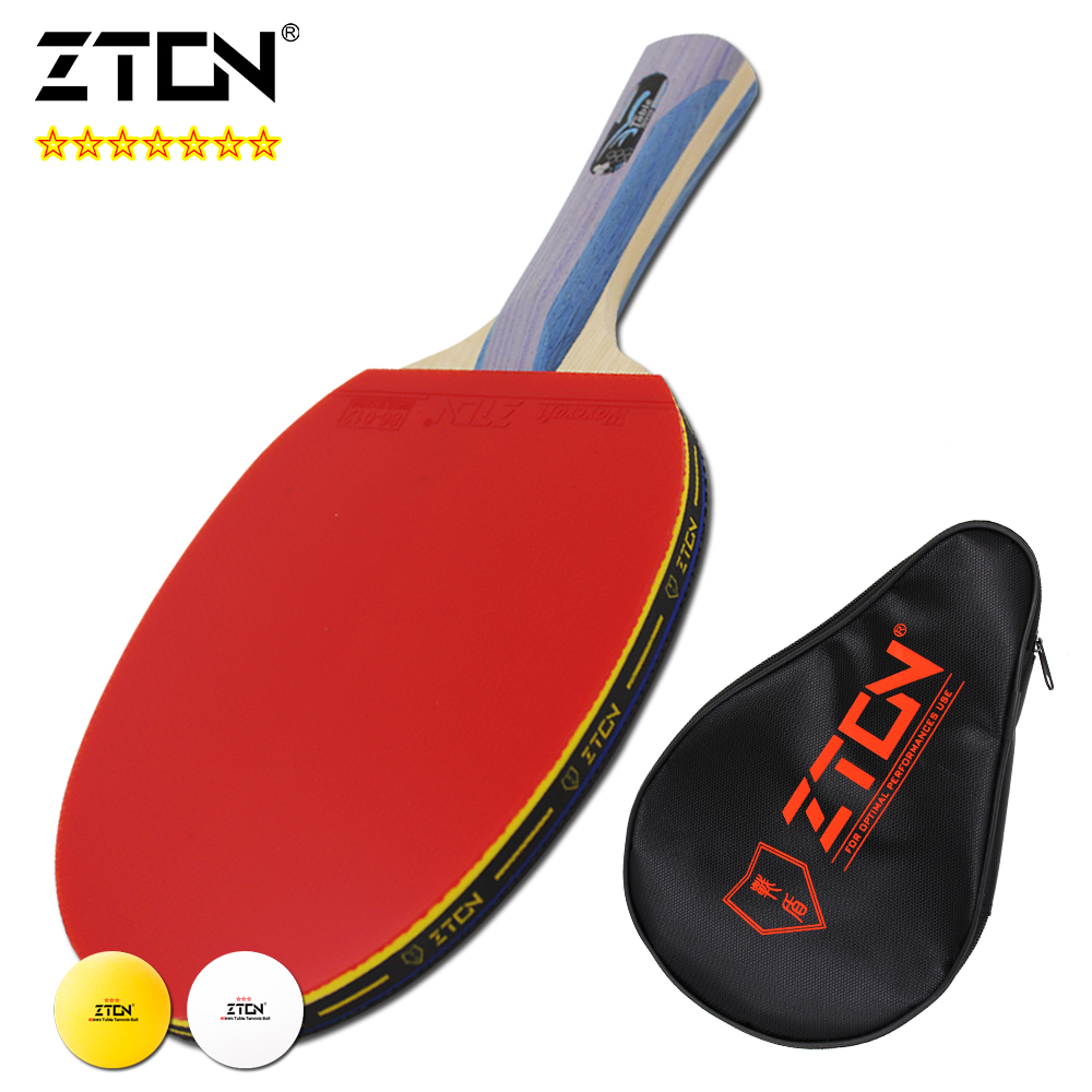 Brand Quality 7 stars Table tennis racket Ddouble Pimples-in rubber Ping Pong Racket tenis de mesa table - ZTON Official Store store