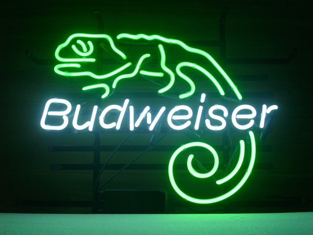 FS Neon Sign Budweiser Lizard Handcrafted Neon Light Sign Beerbar Sign Neon Beer Sign 24x20.Super Bright!(China (Mainland))