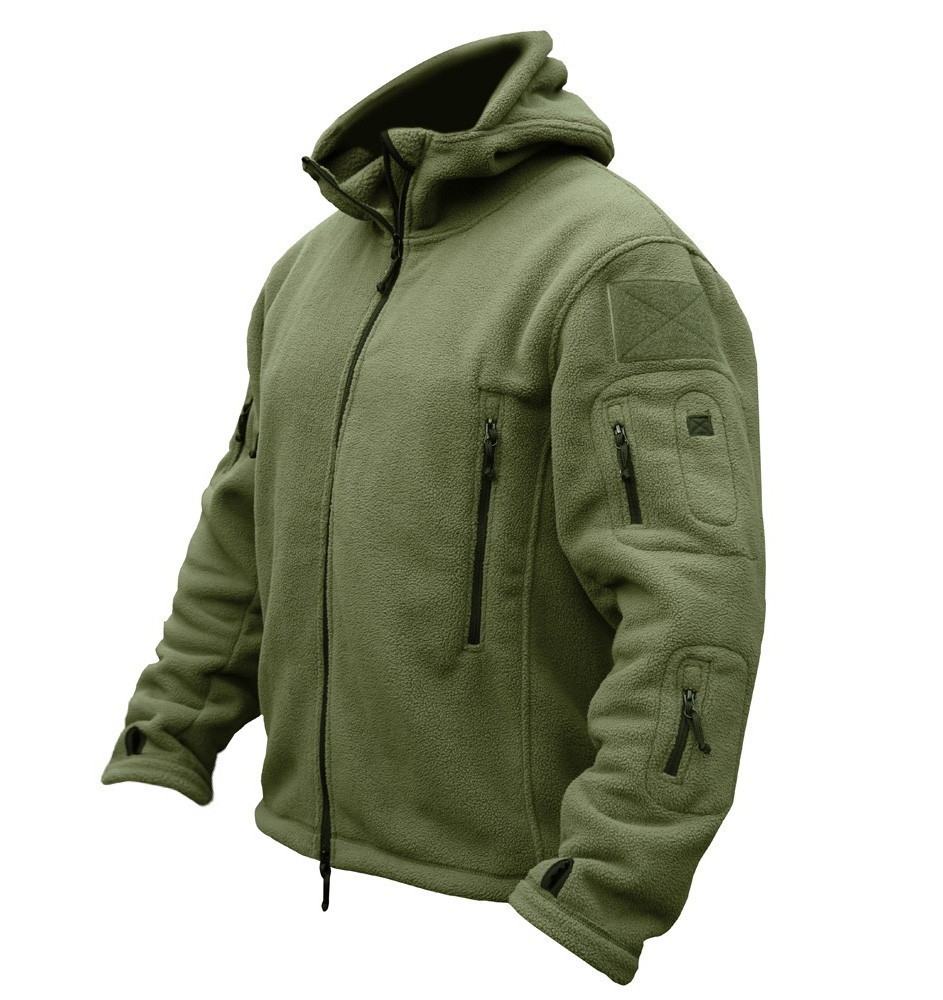 US Military Man Fleece Tactical Jacket Outdoor Polartec Thermal Breathable Sport Hiking Polar Hooded Coat Outerwear Army Clothes()