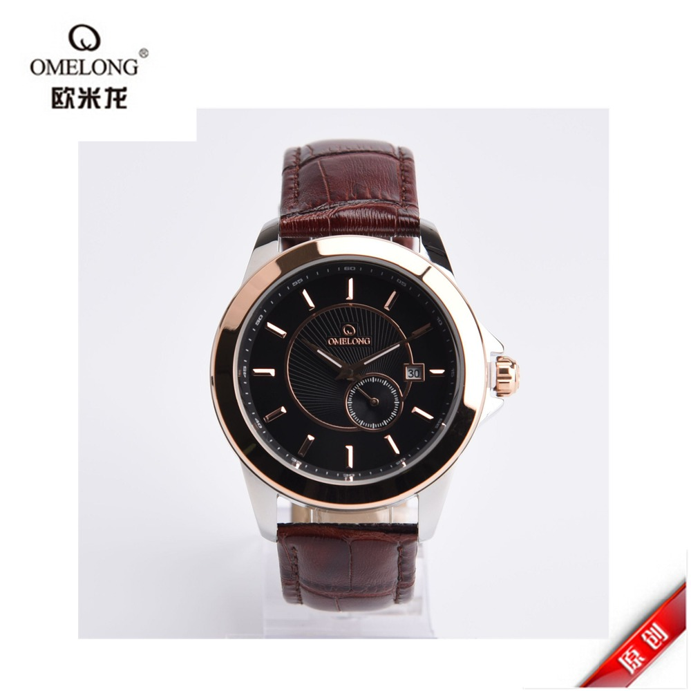 2016 New Watch Luxury Omelong Brand IP gold Silver plating Case Elegant Men Automatic Wrist Mens Leather Strap Watches<br>