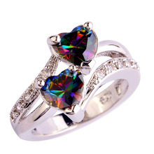 Women Colorful Rainbow   Topaz 925 Silver Ring Size 7 8 9 10 New Fashion Jewelry Gift Free Shipping Wholesale