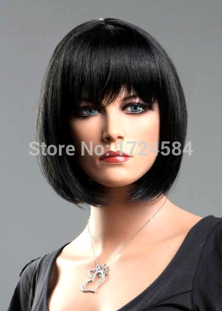 66O##@@00+Ladies Short Wig Black Wig Wedge Fashion Wig 6.06(China (Mainland))
