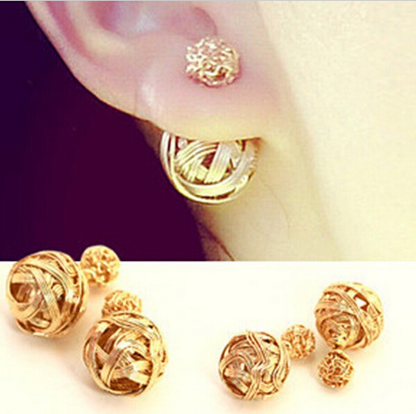 E0051 Hot New Fashion Double Sides Pearl Earring Two Ball Stud Earrings For Girls Gold Plated Jewelry(China (Mainland))