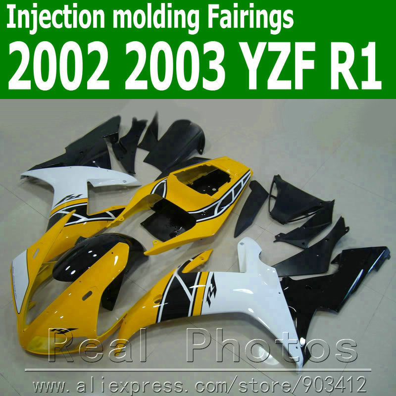 100% Injection molding fairing kit for YAMAHA 2002 2003 YZF R102 03 yellow black motorcycle fairings set JK17(China (Mainland))