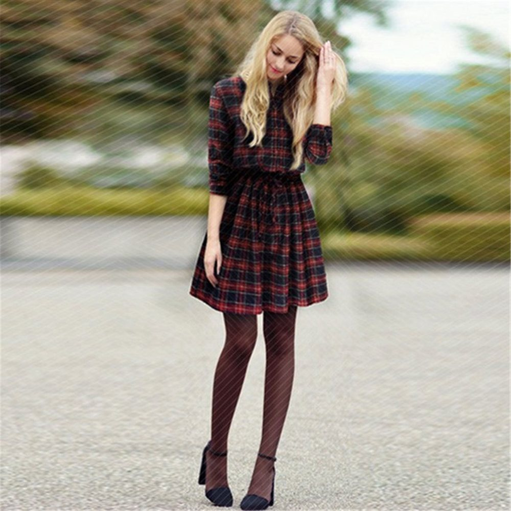 Simple Women Winter Dress Casual 34 Sleeve White Black Plaid Print Shirt