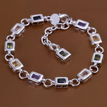 Bracelet Silver Plated Bracelet Silver Colors Crystal Fashion Jewelry 8 Inches Jewelry Factory Direct Sale opld LH261(China (Mainland))