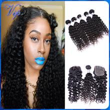 6A Rosa Hair Products Brazilian Virgin Hair With Closure 5PCS Brazilian Curly Hair With Closure Brazilian Deep Wave Virgin Hair(China (Mainland))