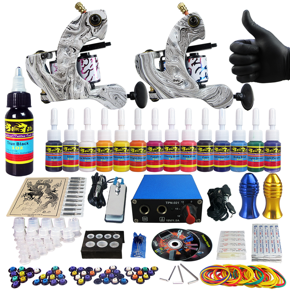 Solong Tattoo Complete Tattoo Kit 2 Pro Machine Guns 14 color 5ml/bottle Inks Power Supply Needle Grips TK203-3<br><br>Aliexpress