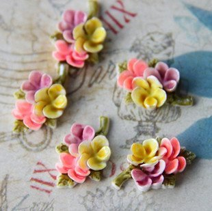 12 pcs resin hand painted flower cabochon 18mm