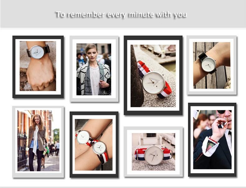 2016 Enmex творческой пары наручные часы Nordic дизайн Отдельный вторая рука 3D шкала простые любителей моды Холст кварцевые часы