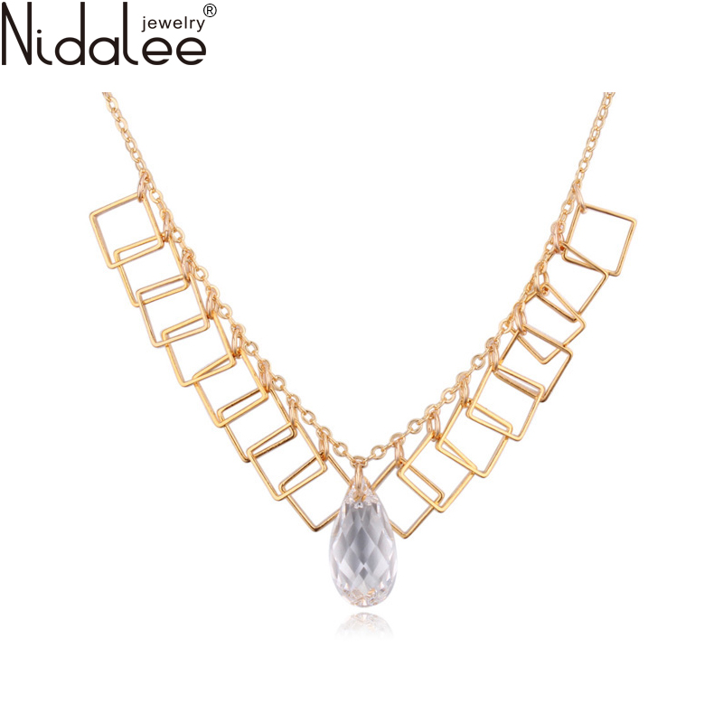 Nidalee 2016 Fashion Water Droplets Champagne Gold Statement Necklace Pendants Women Crystal From Swarovski Body Jewelry C1798(China (Mainland))