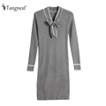 TANGNEST Women Sexy Sweater Dress 2016 Autumn Winter Fashion V Neck Bodycon Basic Mini Solid Color Knitted Dress WZQ208
