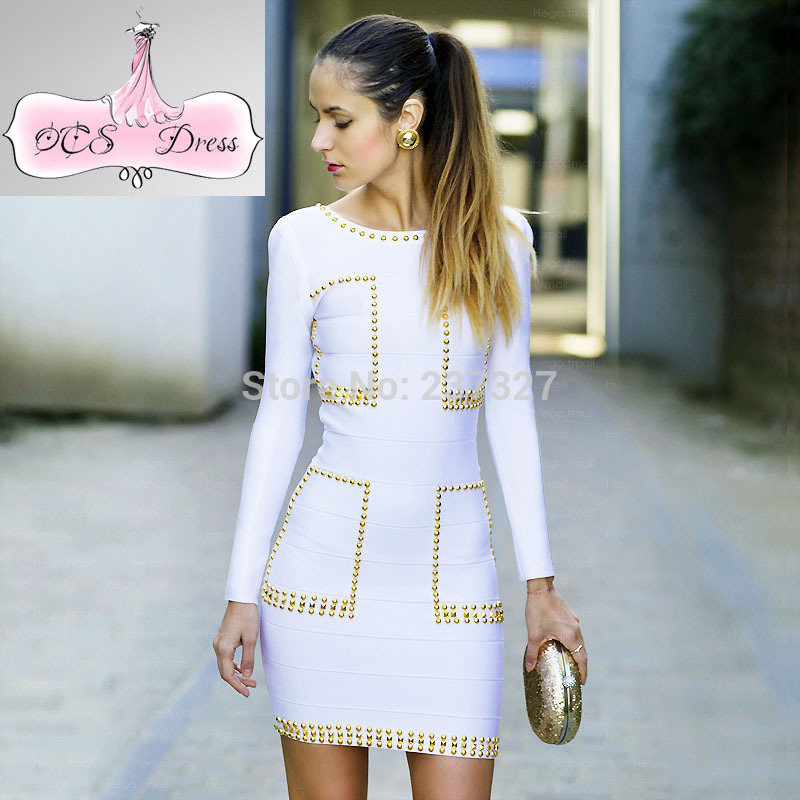 Free Shipping 2014 New Fahion TAYLOR Gold Beads Embellished Celebrity White Red Carpet Long Sleeve Evening Bandage DressОдежда и ак�е��уары<br><br><br>Aliexpress