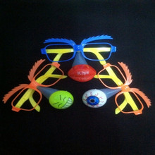 12pcs/lot Led light clown glasses toy big nose Practical Jokes halloween party toy Led glowing half face glasses toy(China (Mainland))