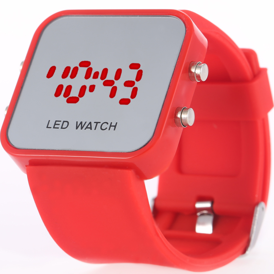 2015 New Fashion LED Electronic Watch Women lady Girl Men Colorful Rubber Jelly Digital Reflective Mirror Wrist Led Watch LW001(China (Mainland))