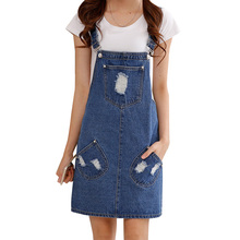 Summer style 2016 denim dress Casual loose overalls dresses preppy style Big pocket hole decorate Plus size XXL M223(China (Mainland))