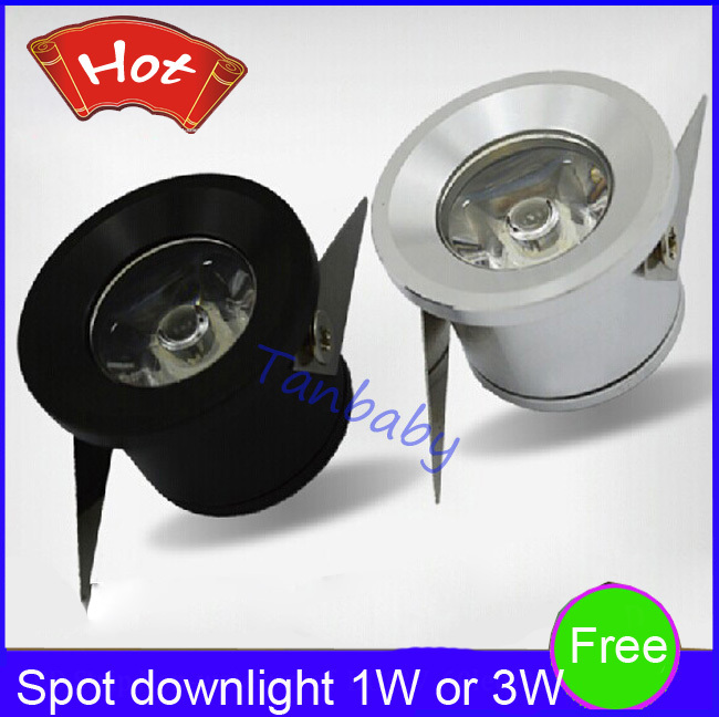 Free shipping 5pcs/lot Mini led spot downlight 1W 3W cabinet lamp white,warm white AC85-265V include led driver mini light(China (Mainland))