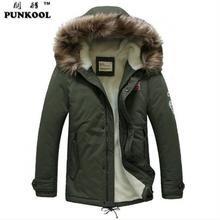 PUNKOOL Parka Men 2016 New Fashion Winter Jacket Men Thermal Hood Down Coat Parkas Outwear Men Fur Hood Army Military Jacket(China (Mainland))