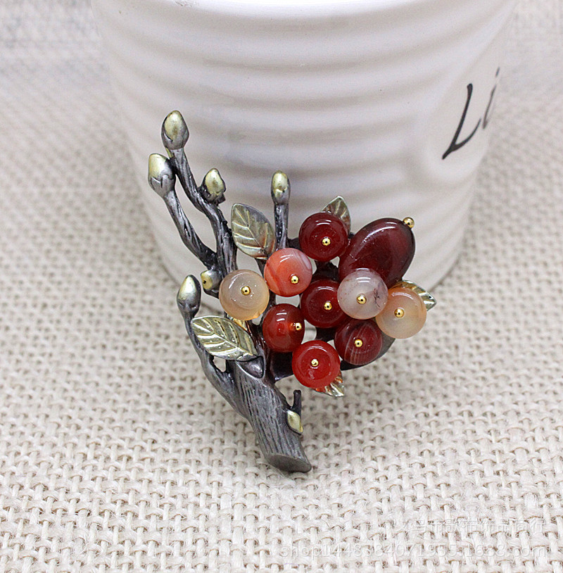 Chinese style jewelry Vintage Agate Crystal Jade branch literary brooch corsage brooch Broches Pins Mujer(China (Mainland))