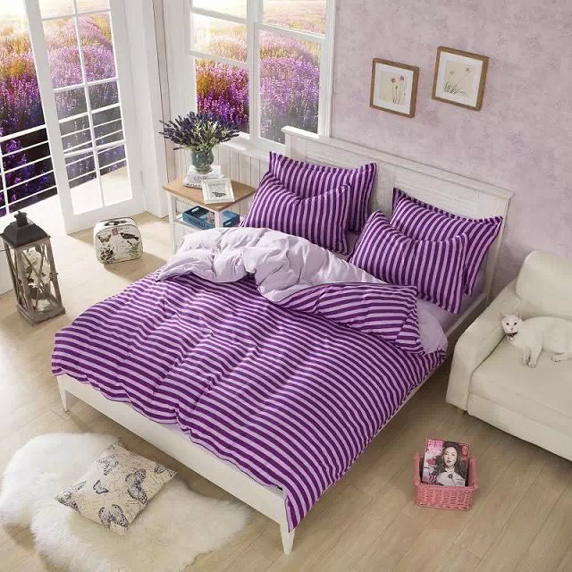 4PCS full twin bedding set comforter set purple bedding purple and pink striped moder bedding fashion bedding for girls boys(China (Mainland))