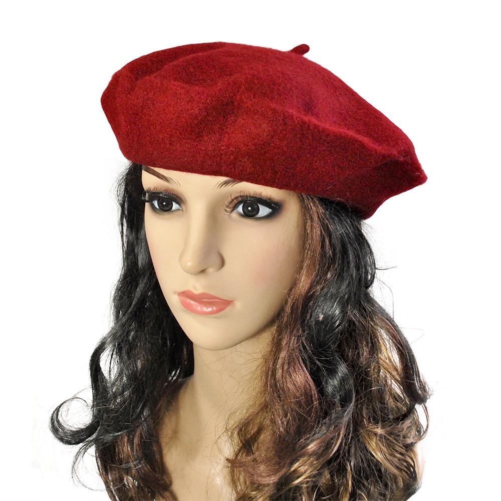 Fashion Winter Beret Hats For Women Plain Beret Hat Wool French Beret Winter Autumn Women Girls Fashion Hats WA849 P50(China (Mainland))