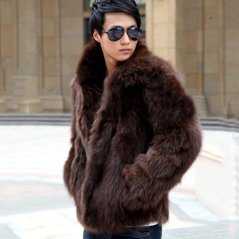 Short Black Men's Faux Fox Fur Overcoat Fur Lapel Thickening Warm Leather Jackets Men's Fur Coat(China (Mainland))