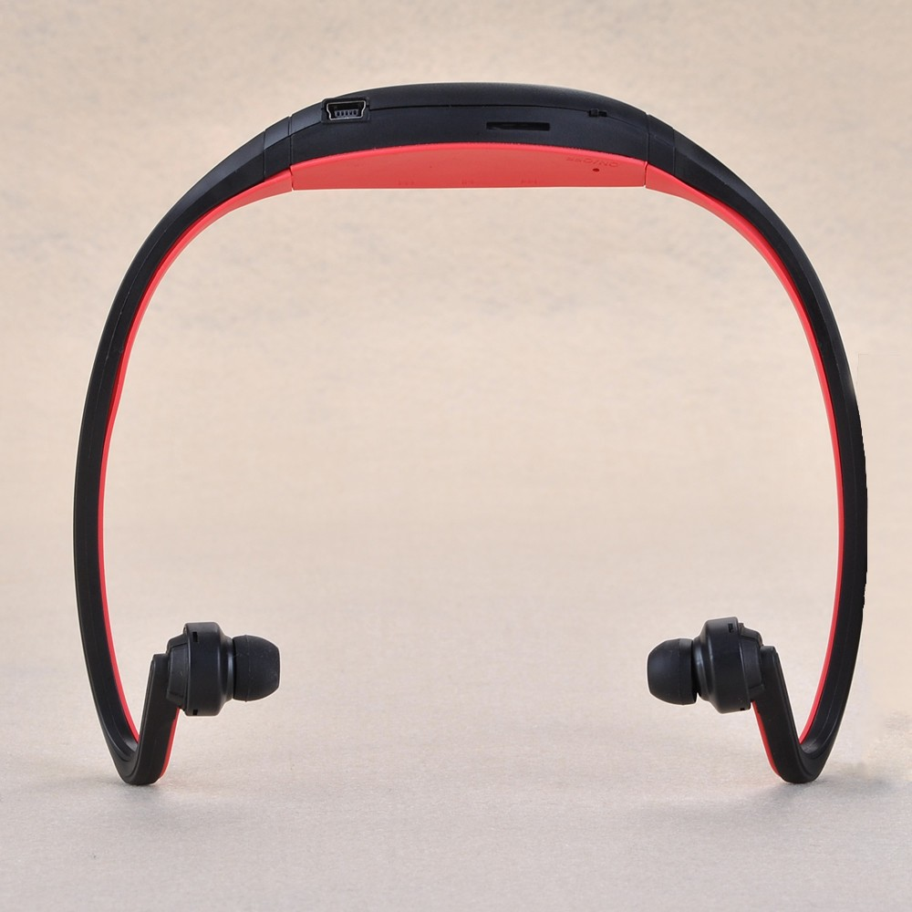 FM Radio TF Card MP3 Music Player Wireless Headset Earphone Headphones Red Sport For Running Cycling