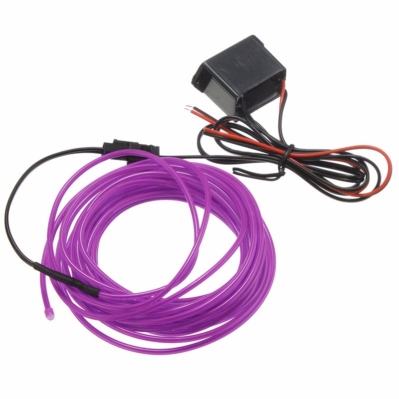 Hot Sale Led Flexible EL Wire Neon Glow Light 5M With 12V Controller Car Party Wedding Decoration(China (Mainland))