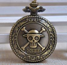 Fast Shipping Bronze One Piece Caribbean Skull Quartz Pocket Watch Men Women Retro Necklace Chain Pendant Watch Gift Reloj A072(China (Mainland))