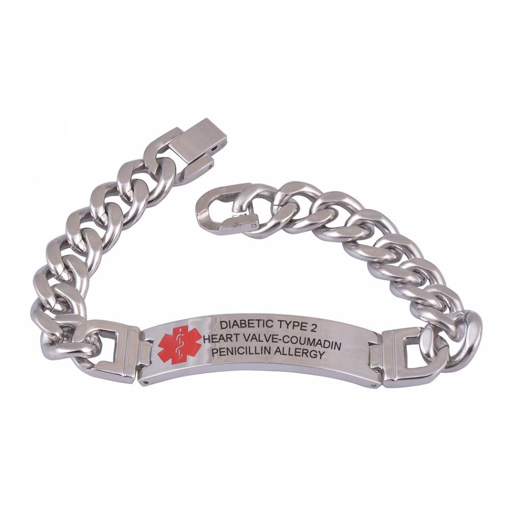 316l custom engraved bracelet medical alert id link chain