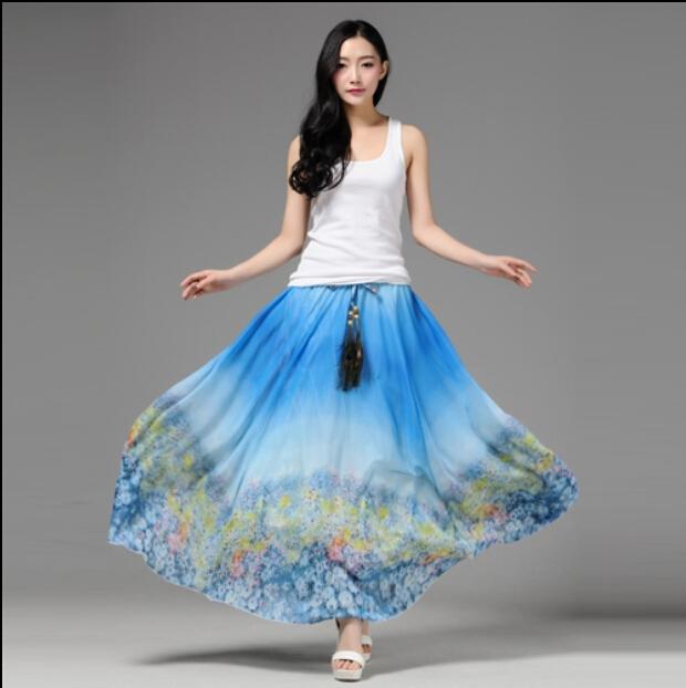 2016 Spring Summer Autumn Elastic Waist Long Chiffon Skirt Women Floral Print Amazing - Gangnamstyle Store store