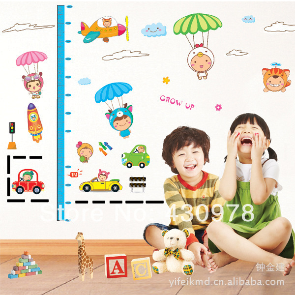 QZ577 Free Shipping 1Pcs Cute Cartoon Car Animals Measure Height Fit For Children Room Decoration Removable PVC Wall Stickers(China (Mainland))