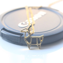 Min 1pc Gold and Silver Origami Deer Necklace for Women Cute Animal Women Pendant Neckalce Jewelry