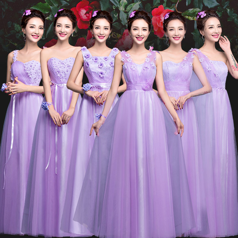 Purple bridesmaid dress robe de strapless a line summer chiffon dress