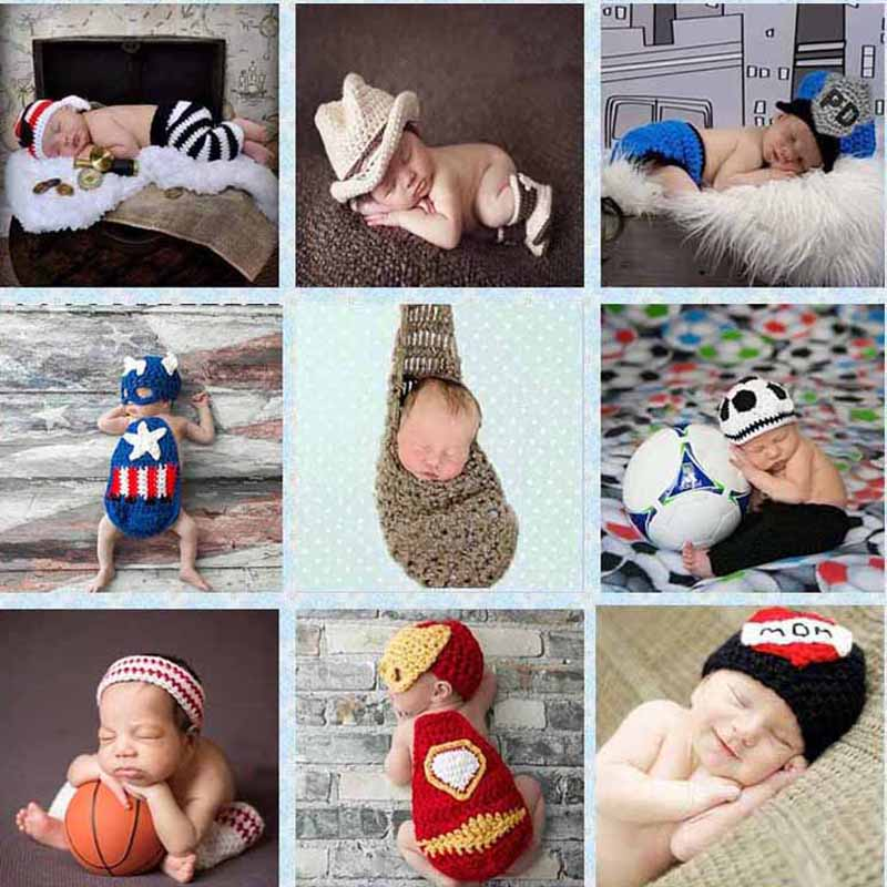 Crochet Pattern Newborn Photography Props Infant Toddler Knitted Costume Handmade Baby Hat 0-12 Months 1set SG049(China (Mainland))