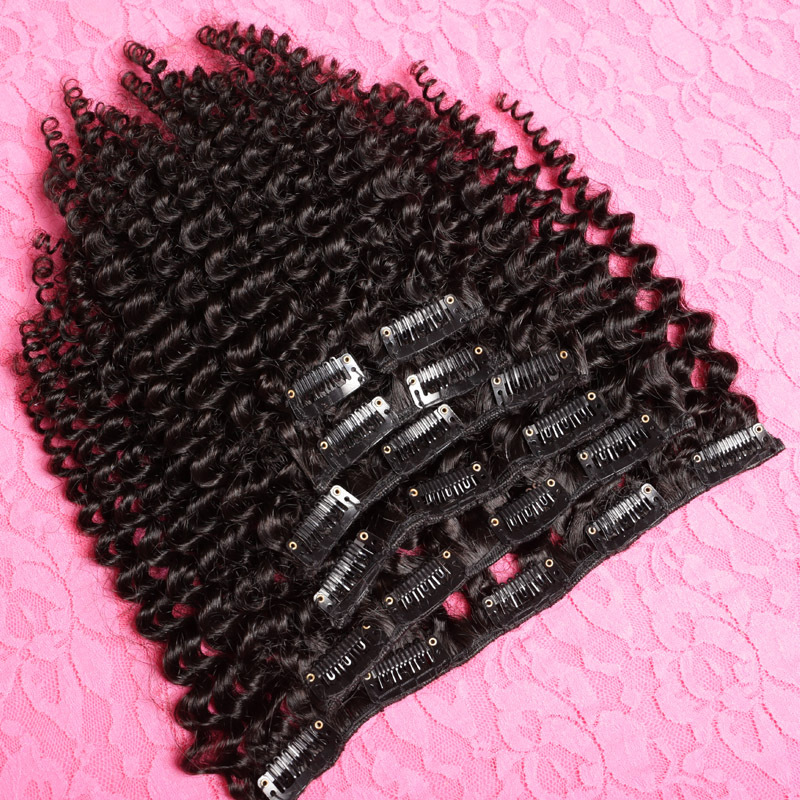 100% Brazilian Virgin 6a Grade Remy Human Hair Afro Kinky Curly Clip In Hair Extensions 7PCS/Set 120G Clip Ins Weave(China (Mainland))
