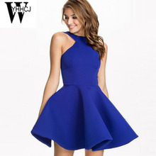 Buy WYHHCJ 2017 sexy shoulder women dress o-neck sleeveless mini summer dress robe femme backless blue a-line party dresses for $15.49 in AliExpress store