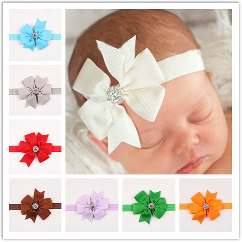 New Bows Headband with Rhinestone for Baby girl ribbon butterfly bow headband kids hairwear children hair accessories(China (Mainland))