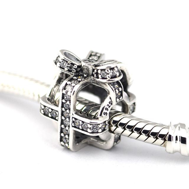 925 серебряные ювелирные изделия бусины закутанная подарок проложить ясно CZ бусины Fit подвески пандора браслет DIY мода ювелирных изделий серебро