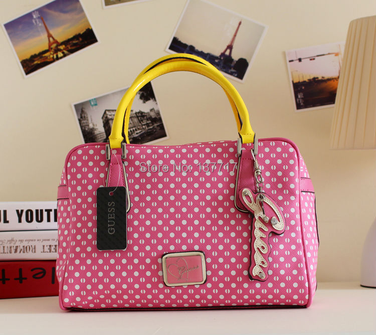 New Arrived Leandra Box Tote Dot Satchel Handbag Pink Bag Purse NWT DBZT(China (Mainland))