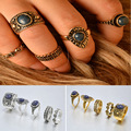 Bohemian 5pcs Pack Vintage Auspicious clouds Blue Crystal Rings Lucky Stackable Midi Rings Set of Rings
